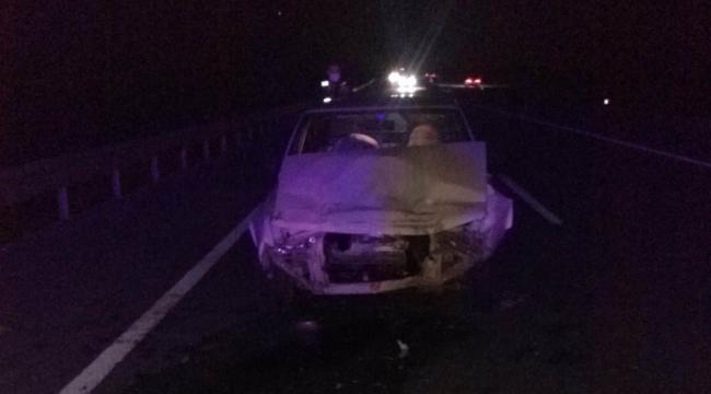 Kamyona çarpan otomobildeki 3 kişi yaralandı
