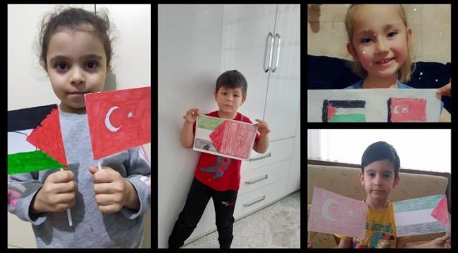 Minik yüreklerden Filistin'e destek